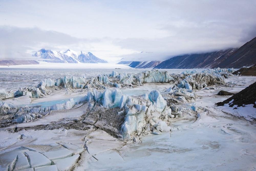 Pressure Ridge Beneath the Double Curtain Glacier, Antarctica photograph 2015 26.5 x 40 inches