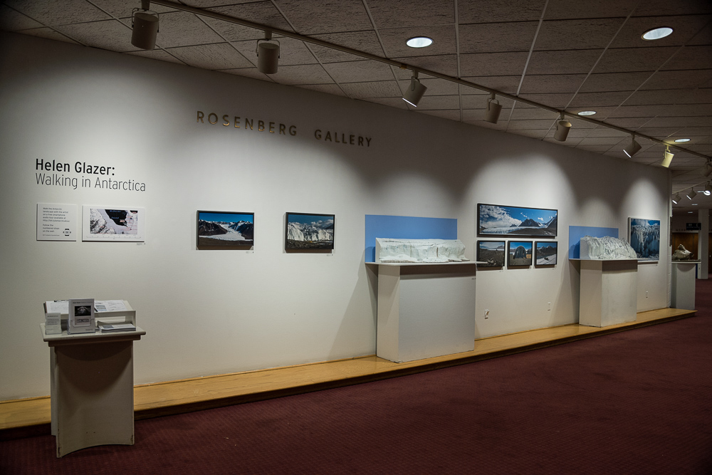 A Walk Over the Canada Glacier, Walking in Antarctica exhibition installation at Goucher College