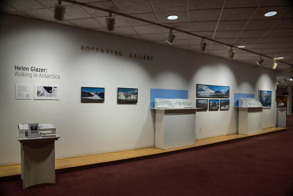 A Walk Over the Canada Glacier, Walking in Antarctica exhibition installation at Goucher College