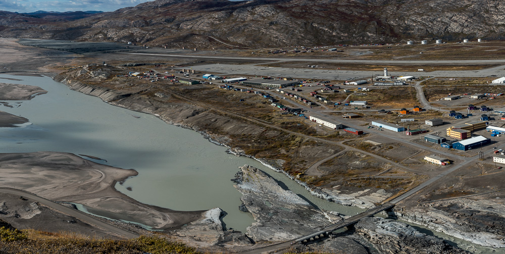 Kangerlussuaq photographed from a nearby mountain early in my stay. Many if not most of these buildings were constructed for the American military base that operated here from the 1940s to 1992.